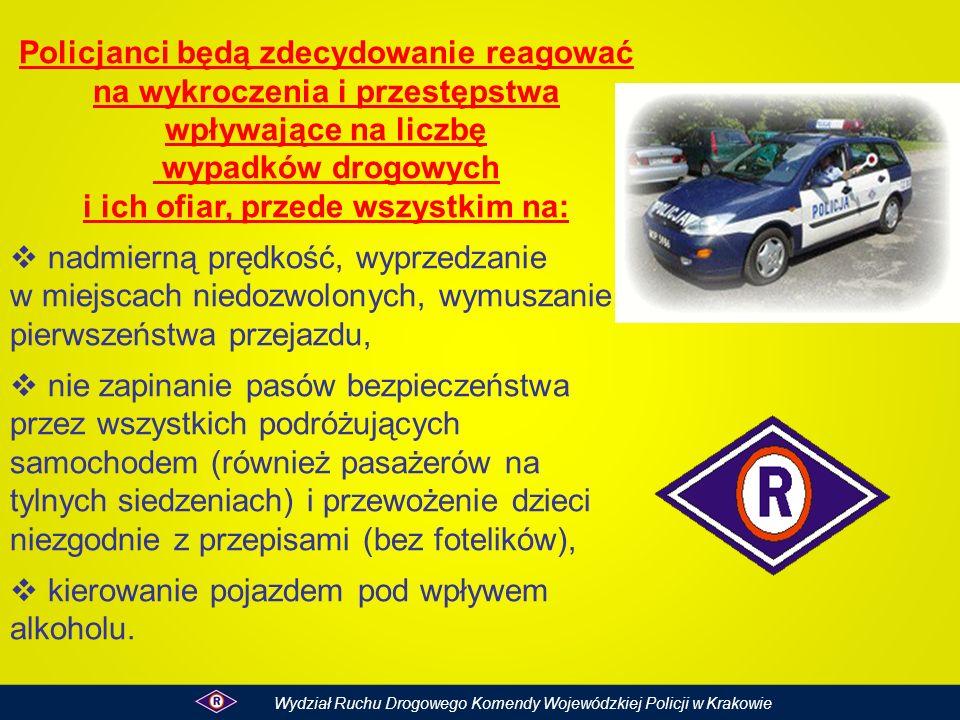 Policjanci będą zdecydowanie reagować na wykroczenia i przestępstwa wpływające na liczbę wypadków drogowych i ich ofiar, przede wszystkim na: nadmiern
