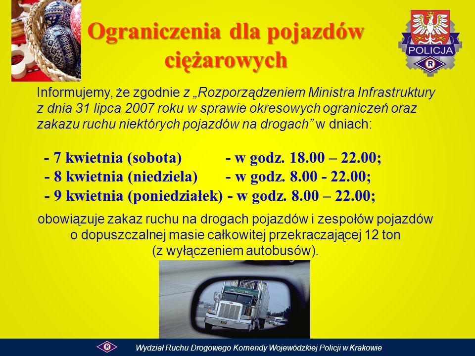 Informujemy, że zgodnie z Rozporządzeniem Ministra Infrastruktury z dnia 31 lipca 2007 roku w sprawie okresowych ograniczeń oraz zakazu ruchu niektóry