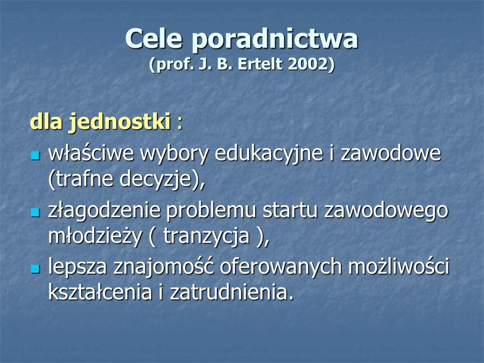 Cele poradnictwa (prof. J. B. Ertelt 2002) dla jednostki : właściwe wybory edukacyjne i zawodowe (trafne decyzje), właściwe wybory edukacyjne i zawodo