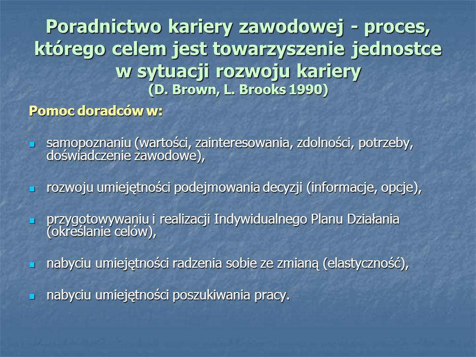 Poradnictwo kariery zawodowej - proces, którego celem jest towarzyszenie jednostce w sytuacji rozwoju kariery (D. Brown, L. Brooks 1990) Pomoc doradcó