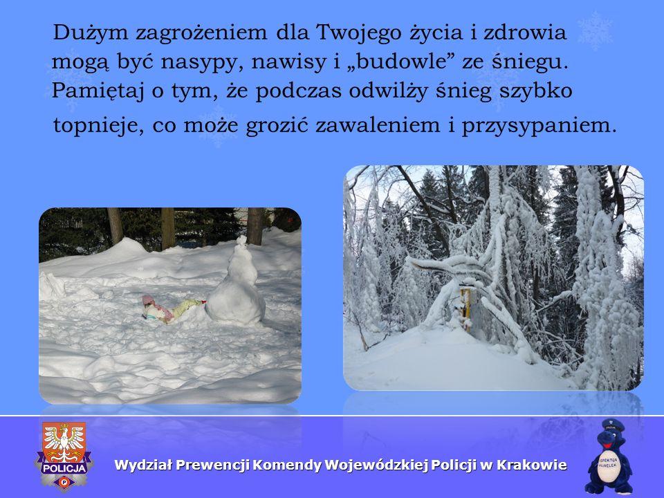 Wydział Prewencji Komendy Wojewódzkiej Policji w Krakowie Dużym zagrożeniem dla Twojego życia i zdrowia mogą być nasypy, nawisy i budowle ze śniegu. P