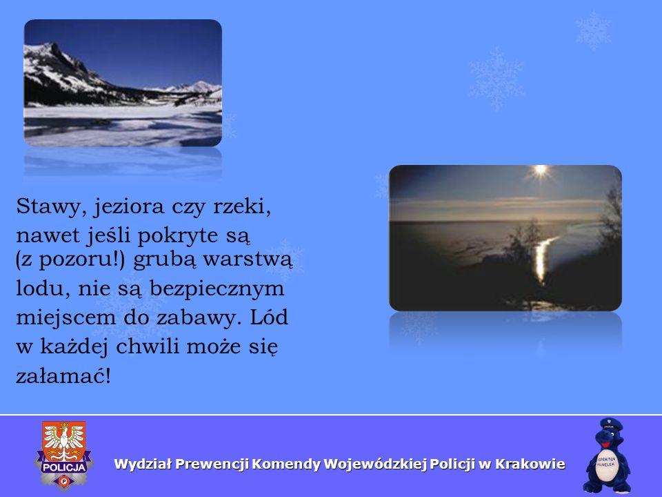 Wydział Prewencji Komendy Wojewódzkiej Policji w Krakowie Stawy, jeziora czy rzeki, nawet jeśli pokryte są (z pozoru!) grubą warstwą lodu, nie są bezp