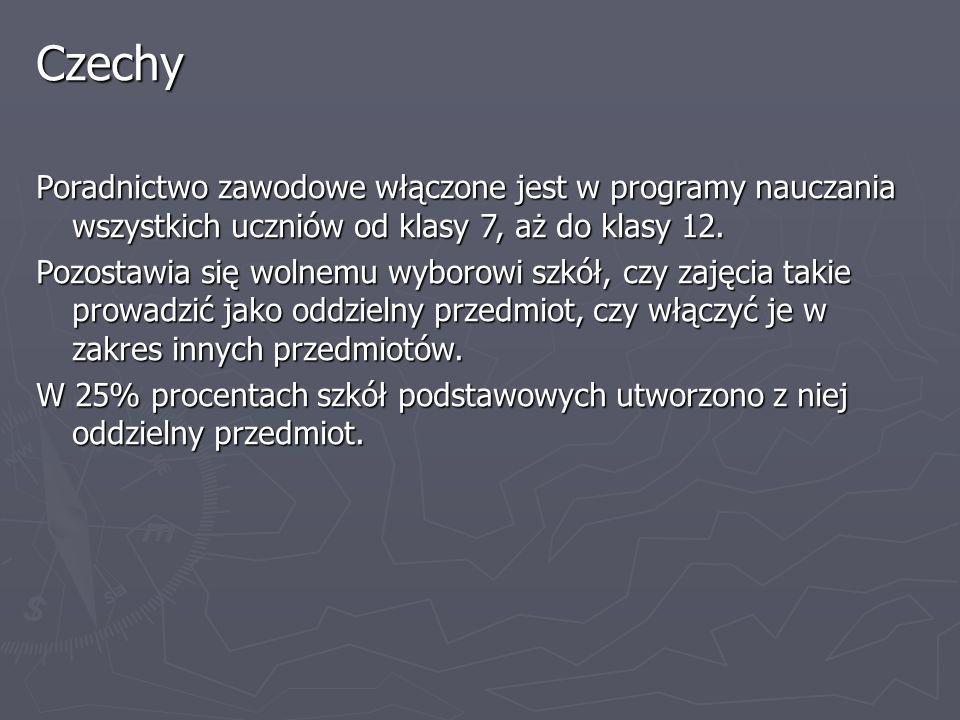 Czechy Poradnictwo zawodowe włączone jest w programy nauczania wszystkich uczniów od klasy 7, aż do klasy 12.