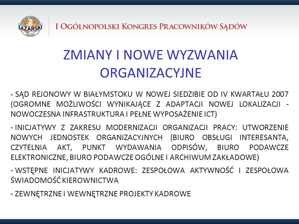 ZMIANY I NOWE WYZWANIA ORGANIZACYJNE - SĄD REJONOWY W BIAŁYMSTOKU W NOWEJ SIEDZIBIE OD IV KWARTAŁU 2007 (OGROMNE MOŻLIWOŚCI WYNIKAJĄCE Z ADAPTACJI NOW