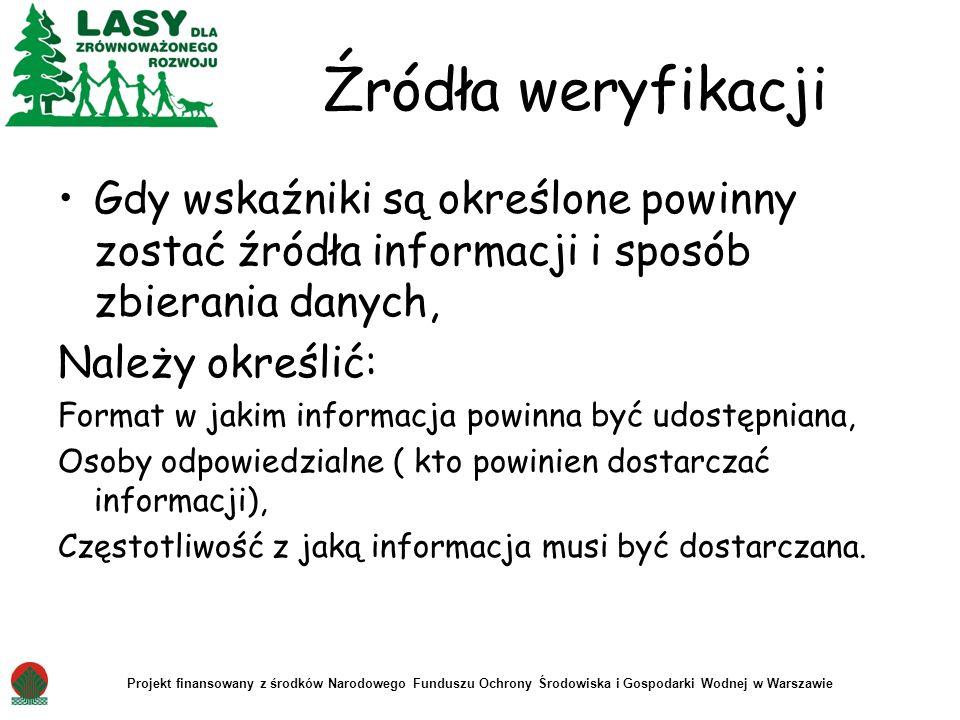 Projekt finansowany z środków Narodowego Funduszu Ochrony Środowiska i Gospodarki Wodnej w Warszawie Źródła weryfikacji Gdy wskaźniki są określone pow