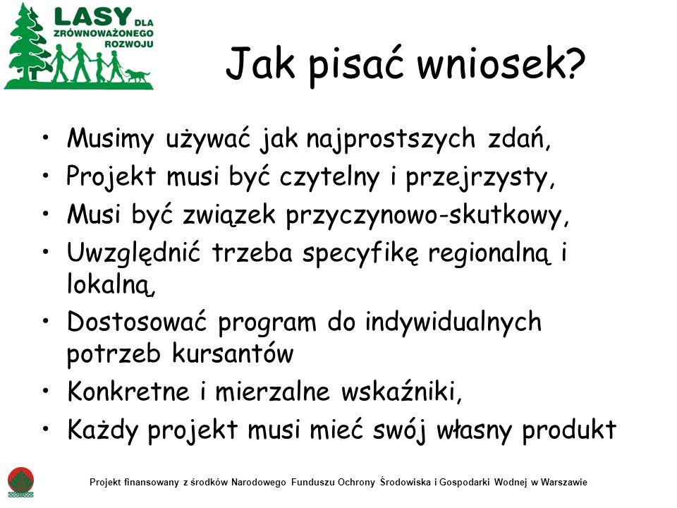 Projekt finansowany z środków Narodowego Funduszu Ochrony Środowiska i Gospodarki Wodnej w Warszawie Jak pisać wniosek? Musimy używać jak najprostszyc