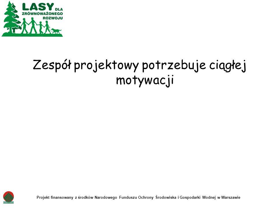 Zespół projektowy potrzebuje ciągłej motywacji Projekt finansowany z środków Narodowego Funduszu Ochrony Środowiska i Gospodarki Wodnej w Warszawie