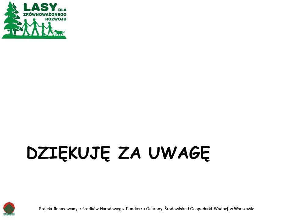 DZIĘKUJĘ ZA UWAGĘ Projekt finansowany z środków Narodowego Funduszu Ochrony Środowiska i Gospodarki Wodnej w Warszawie