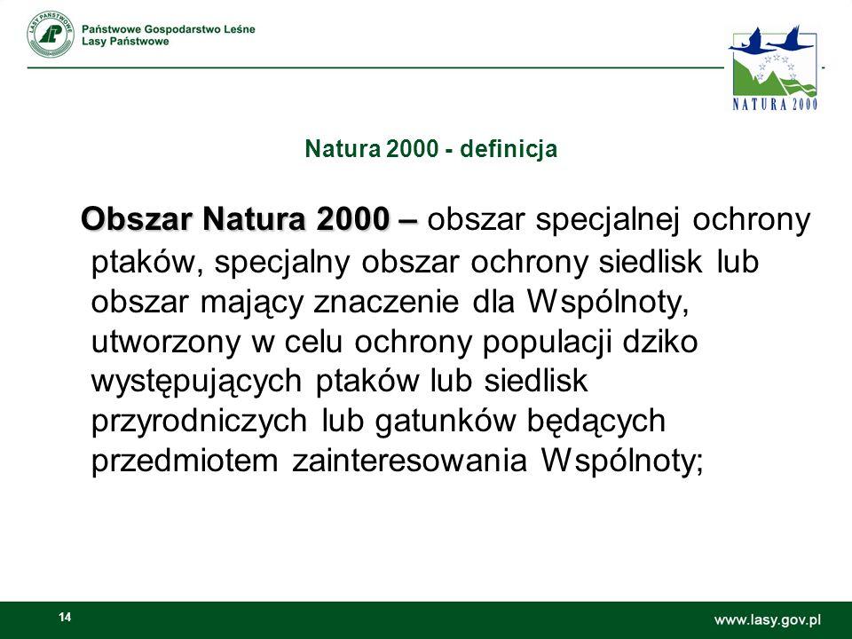 14 Natura 2000 - definicja Obszar Natura 2000 – Obszar Natura 2000 – obszar specjalnej ochrony ptaków, specjalny obszar ochrony siedlisk lub obszar mający znaczenie dla Wspólnoty, utworzony w celu ochrony populacji dziko występujących ptaków lub siedlisk przyrodniczych lub gatunków będących przedmiotem zainteresowania Wspólnoty;