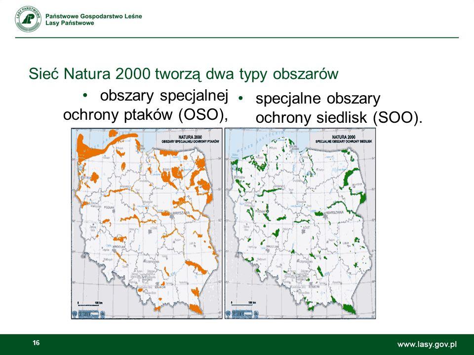 16 Sieć Natura 2000 tworzą dwa typy obszarów obszary specjalnej ochrony ptaków (OSO), specjalne obszary ochrony siedlisk (SOO).