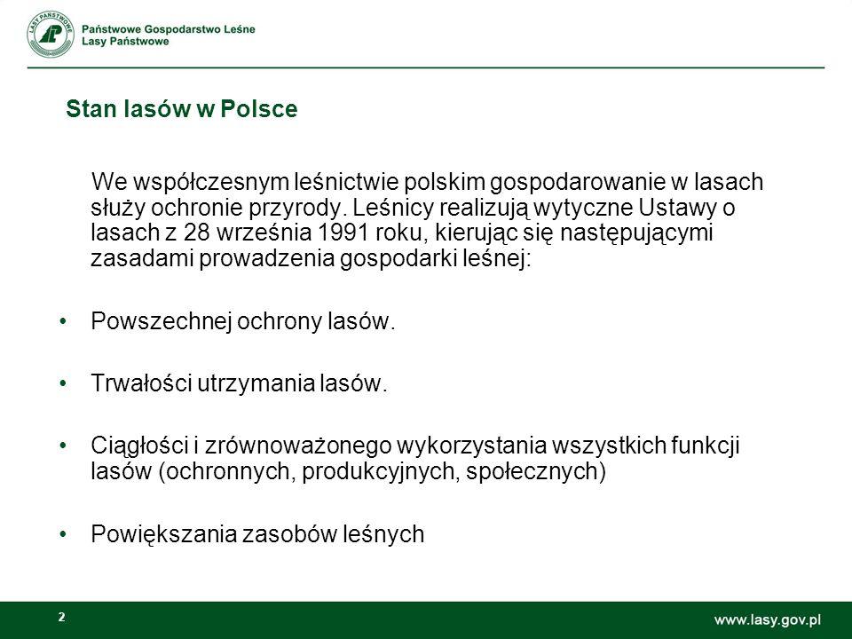 2 Stan lasów w Polsce We współczesnym leśnictwie polskim gospodarowanie w lasach służy ochronie przyrody. Leśnicy realizują wytyczne Ustawy o lasach z