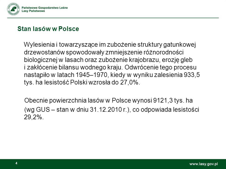 4 Stan lasów w Polsce Wylesienia i towarzyszące im zubożenie struktury gatunkowej drzewostanów spowodowały zmniejszenie różnorodności biologicznej w lasach oraz zubożenie krajobrazu, erozję gleb i zakłócenie bilansu wodnego kraju.