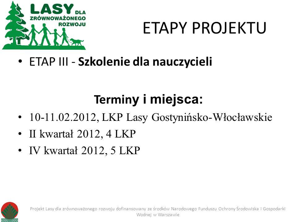 ETAPY PROJEKTU ETAP III - Szkolenie dla nauczycieli Termin y i miejsca: 10-11.02.2012, LKP Lasy Gostynińsko-Włocławskie II kwartał 2012, 4 LKP IV kwar