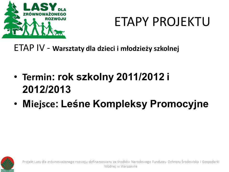 ETAPY PROJEKTU ETAP IV - Warsztaty dla dzieci i młodzieży szkolnej Termin : rok szkolny 2011/2012 i 2012/2013 M iejsce : Leśne Kompleksy Promocyjne Pr