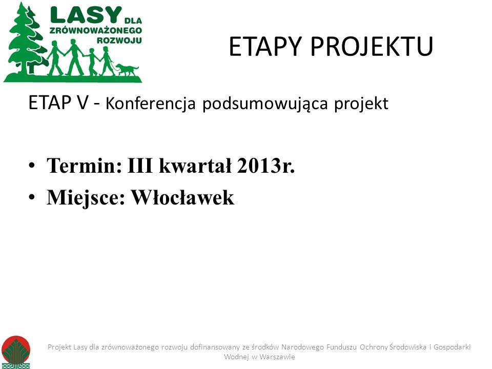 ETAPY PROJEKTU ETAP V - Konferencja podsumowująca projekt Termin: III kwartał 2013r. Miejsce: Włocławek Projekt Lasy dla zrównoważonego rozwoju dofina