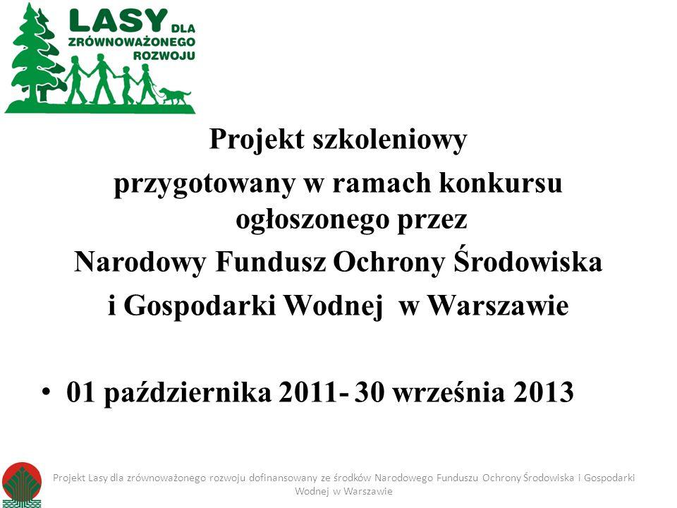 Projekt szkoleniowy przygotowany w ramach konkursu ogłoszonego przez Narodowy Fundusz Ochrony Środowiska i Gospodarki Wodnej w Warszawie 01 październi