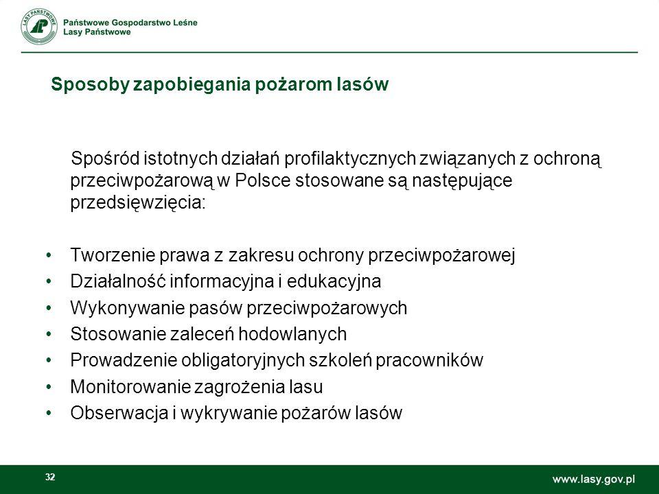32 Sposoby zapobiegania pożarom lasów Spośród istotnych działań profilaktycznych związanych z ochroną przeciwpożarową w Polsce stosowane są następując