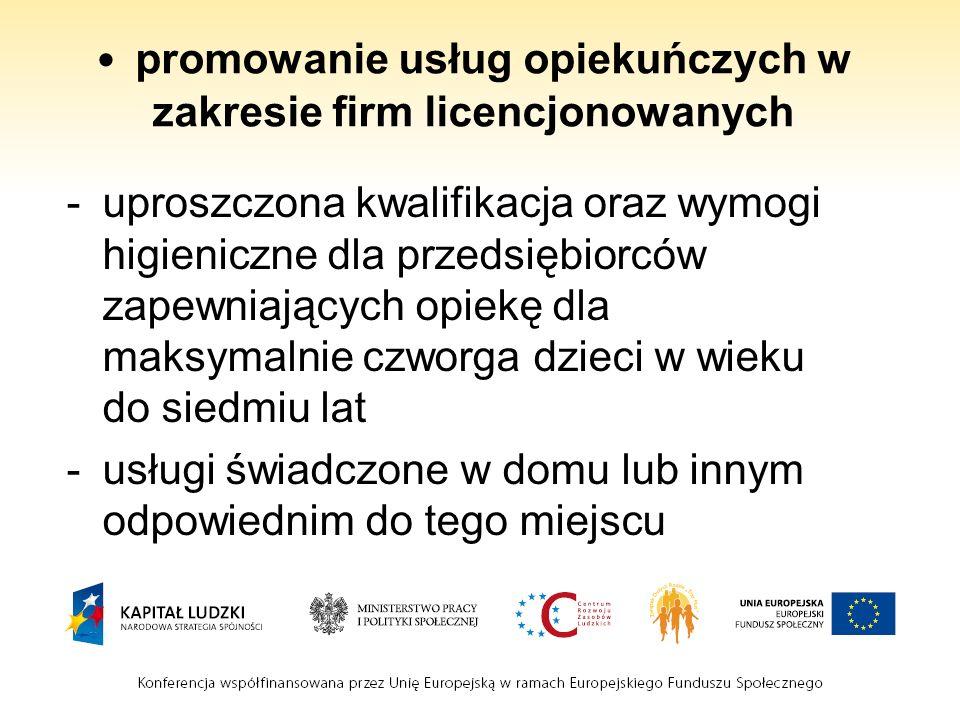 promowanie usług opiekuńczych w zakresie firm licencjonowanych -uproszczona kwalifikacja oraz wymogi higieniczne dla przedsiębiorców zapewniających opiekę dla maksymalnie czworga dzieci w wieku do siedmiu lat -usługi świadczone w domu lub innym odpowiednim do tego miejscu