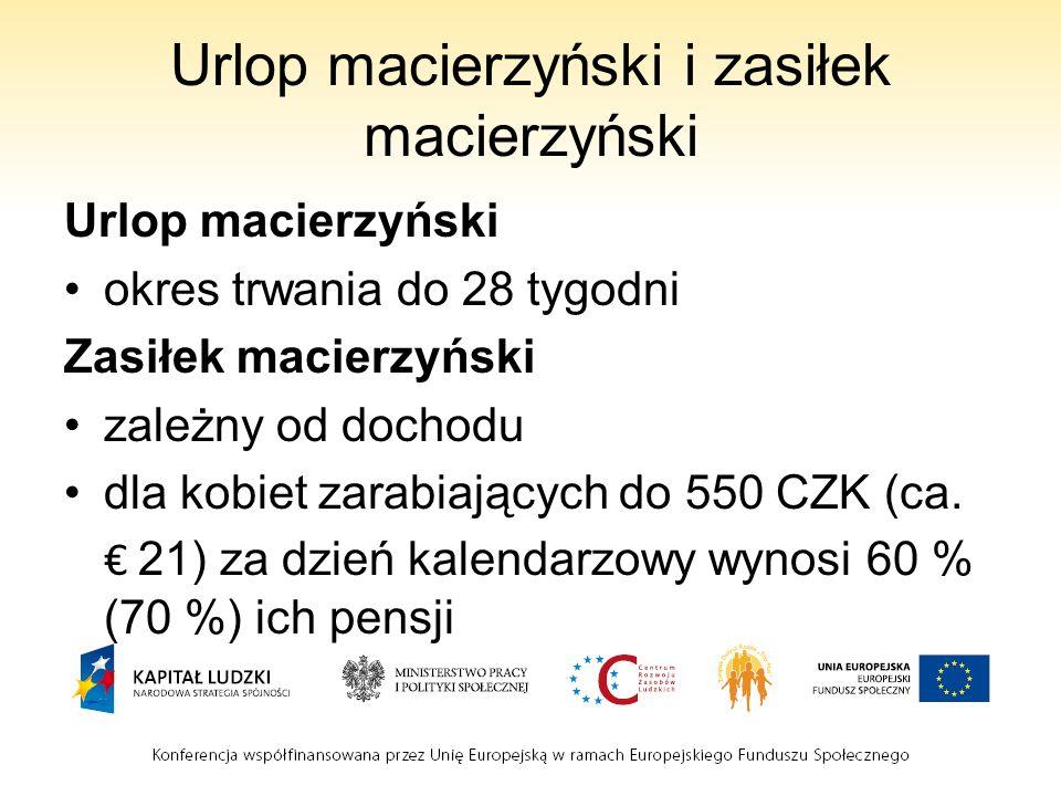 Urlop macierzyński i zasiłek macierzyński Urlop macierzyński okres trwania do 28 tygodni Zasiłek macierzyński zależny od dochodu dla kobiet zarabiających do 550 CZK (ca.