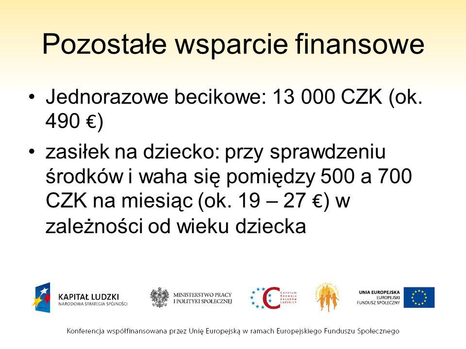 Pozostałe wsparcie finansowe Jednorazowe becikowe: 13 000 CZK (ok.