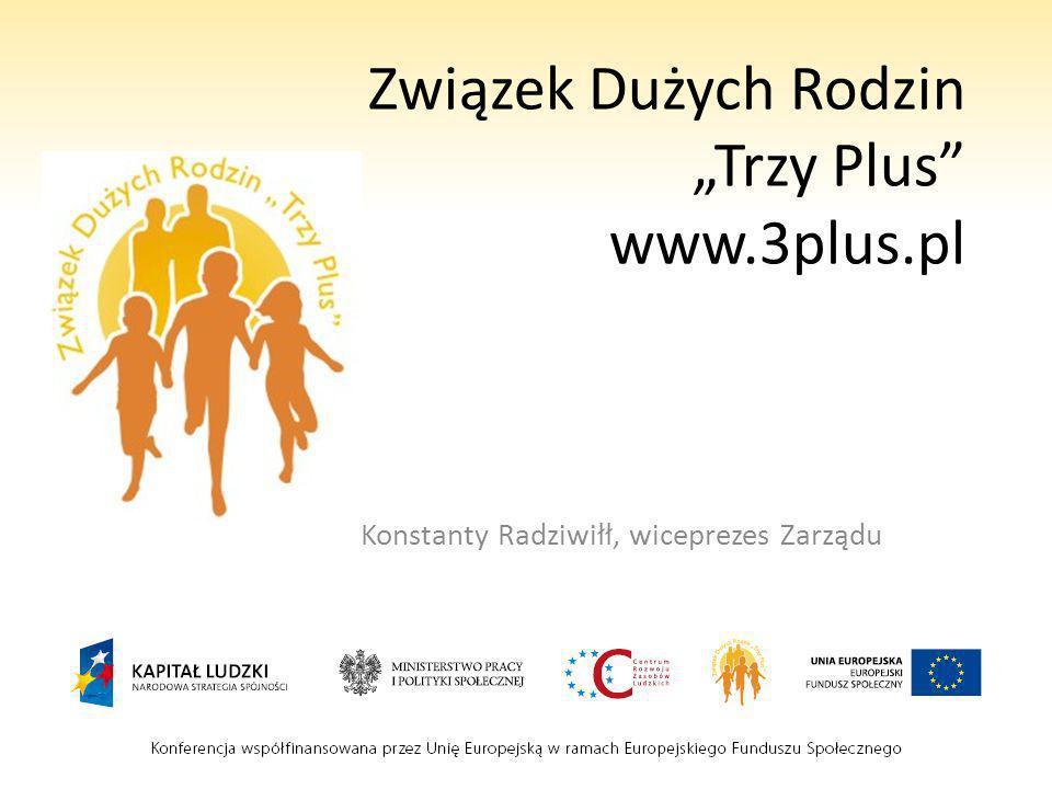 Związek Dużych Rodzin Trzy Plus www.3plus.pl Konstanty Radziwiłł, wiceprezes Zarządu