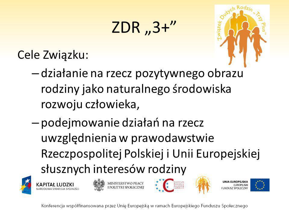 ZDR 3+ Cele Związku: – działanie na rzecz pozytywnego obrazu rodziny jako naturalnego środowiska rozwoju człowieka, – podejmowanie działań na rzecz uw