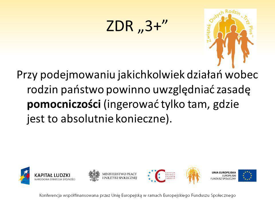 ZDR 3+ Przykłady aktywności Związku: -działanie na rzecz wprowadzenia becikowego i ulg podatkowych na dzieci -wspieranie idei Karty Dużej Rodziny (lokalnie i w skali ogólnopolskiej) -lobbing przeciw nowelizacji ustawy o przeciwdziałaniu przemocy w rodzinie