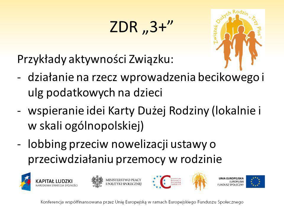 ZDR 3+ Przykłady aktywności Związku: -działanie na rzecz wprowadzenia becikowego i ulg podatkowych na dzieci -wspieranie idei Karty Dużej Rodziny (lok