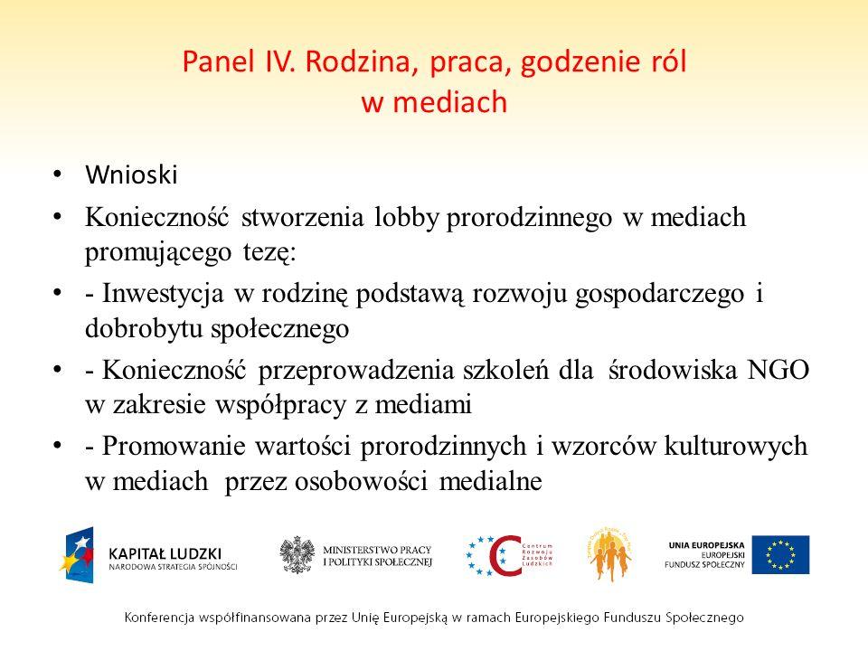 Panel IV. Rodzina, praca, godzenie ról w mediach Wnioski Konieczność stworzenia lobby prorodzinnego w mediach promującego tezę: - Inwestycja w rodzinę