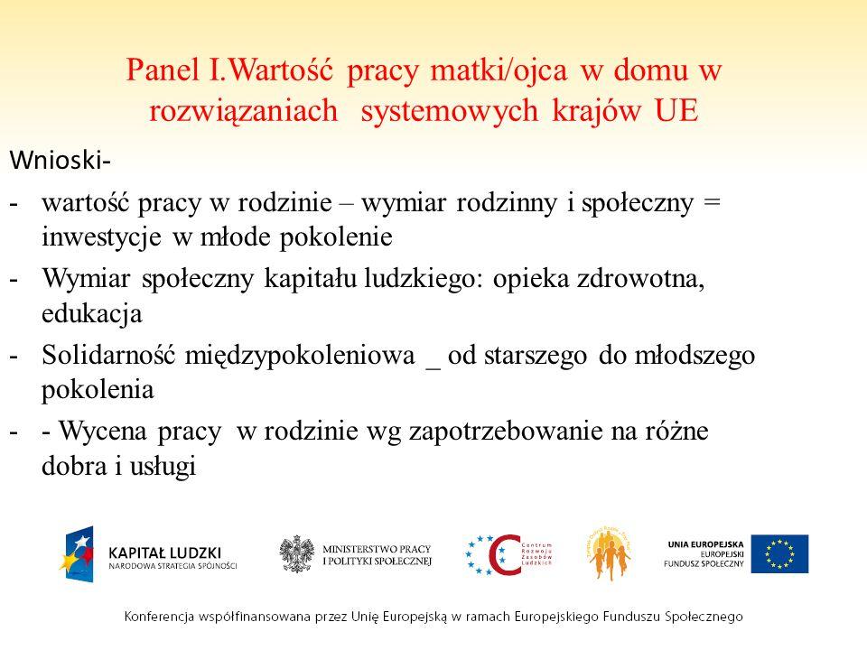Panel I.Wartość pracy matki/ojca w domu w rozwiązaniach systemowych krajów UE Wnioski - -wartość pracy w rodzinie – wymiar rodzinny i społeczny = inwe