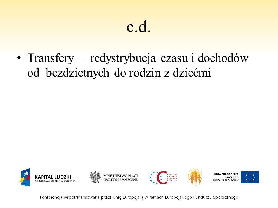 c.d. Transfery – redystrybucja czasu i dochodów od bezdzietnych do rodzin z dziećmi