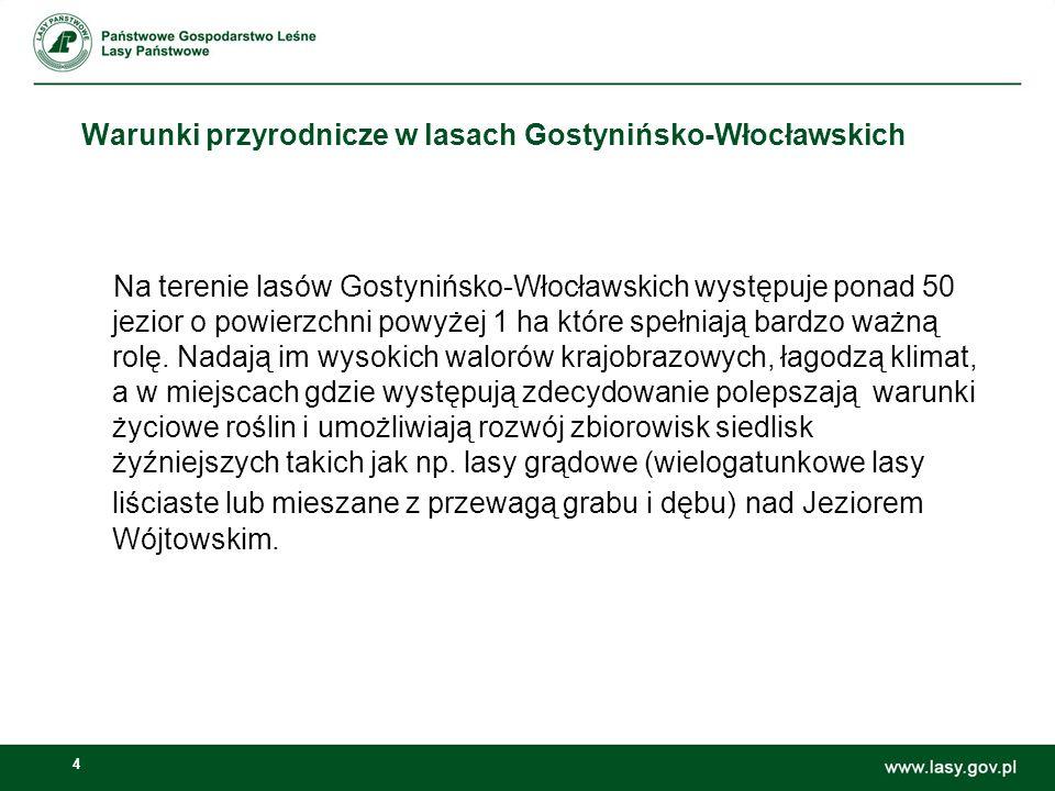 4 Na terenie lasów Gostynińsko-Włocławskich występuje ponad 50 jezior o powierzchni powyżej 1 ha które spełniają bardzo ważną rolę. Nadają im wysokich