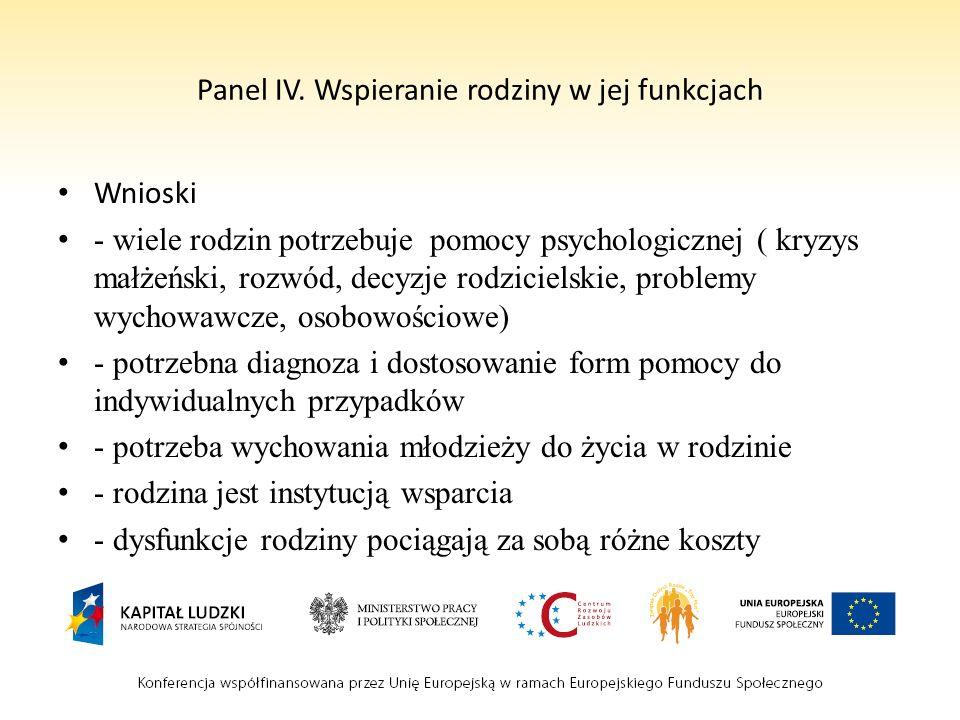 Panel IV. Wspieranie rodziny w jej funkcjach Wnioski - wiele rodzin potrzebuje pomocy psychologicznej ( kryzys małżeński, rozwód, decyzje rodzicielski