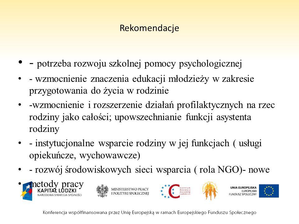 Rekomendacje - potrzeba rozwoju szkolnej pomocy psychologicznej - wzmocnienie znaczenia edukacji młodzieży w zakresie przygotowania do życia w rodzini