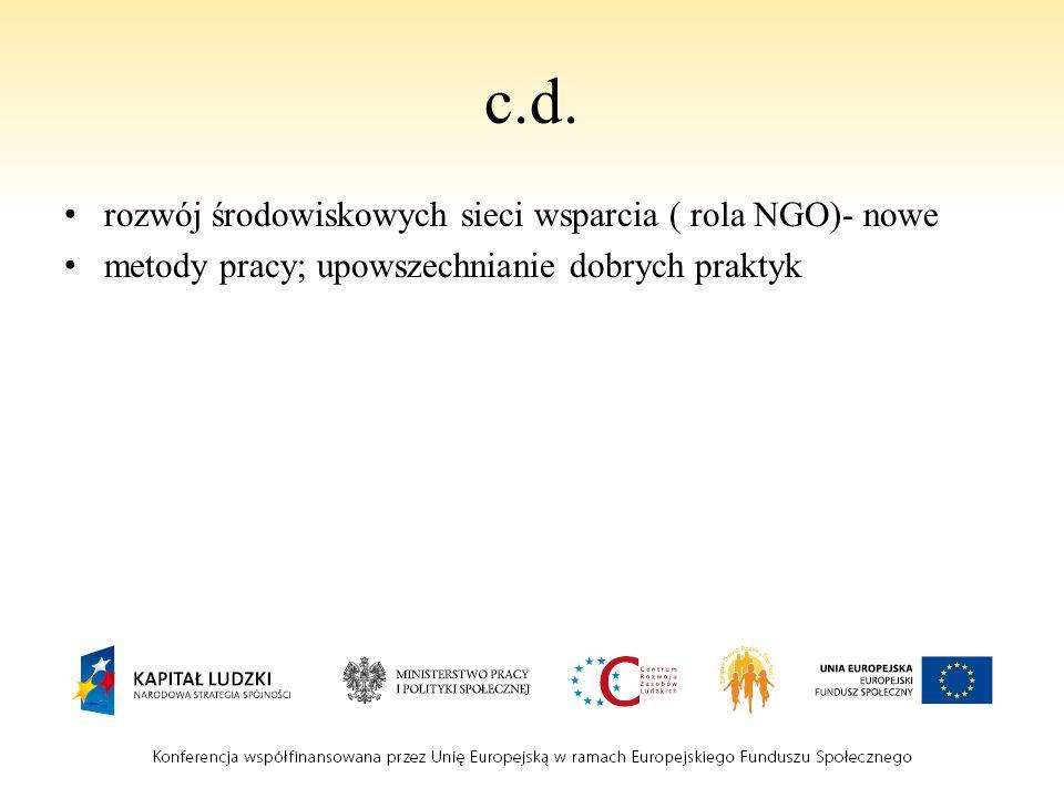 c.d. rozwój środowiskowych sieci wsparcia ( rola NGO)- nowe metody pracy; upowszechnianie dobrych praktyk