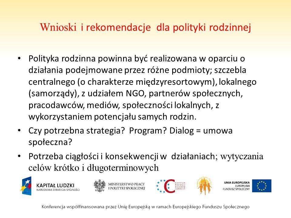 Wnioski i rekomendacje dla polityki rodzinnej Polityka rodzinna powinna być realizowana w oparciu o działania podejmowane przez różne podmioty; szczeb
