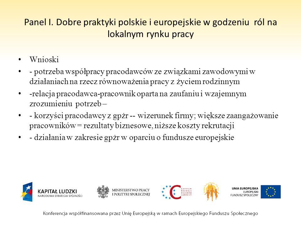 Panel I. Dobre praktyki polskie i europejskie w godzeniu ról na lokalnym rynku pracy Wnioski - potrzeba współpracy pracodawców ze związkami zawodowymi