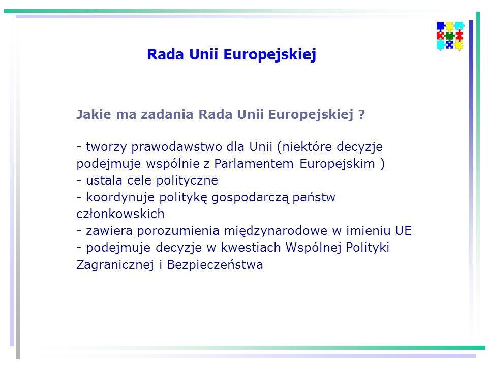 Jakie ma zadania Rada Unii Europejskiej .
