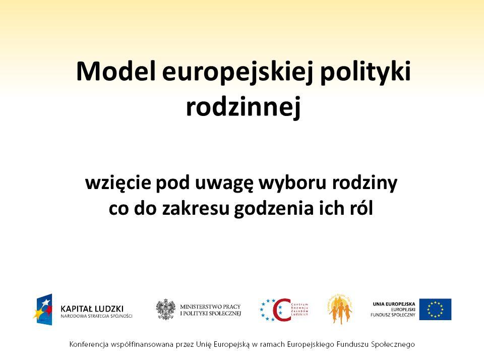 Model europejskiej polityki rodzinnej wzięcie pod uwagę wyboru rodziny co do zakresu godzenia ich ról
