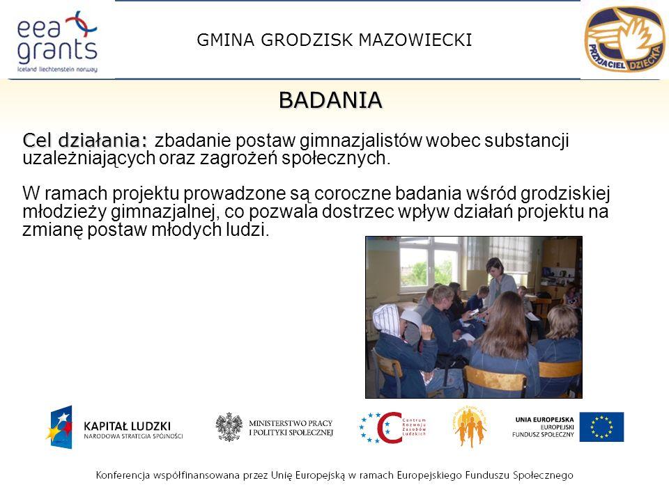 GMINA GRODZISK MAZOWIECKI BADANIA Cel działania: Cel działania: zbadanie postaw gimnazjalistów wobec substancji uzależniających oraz zagrożeń społecznych.