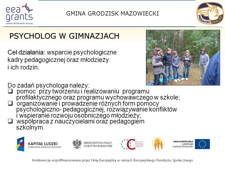 GMINA GRODZISK MAZOWIECKI PSYCHOLOG W GIMNAZJACH Cel działania: Cel działania: wsparcie psychologiczne kadry pedagogicznej oraz młodzieży i ich rodzin.