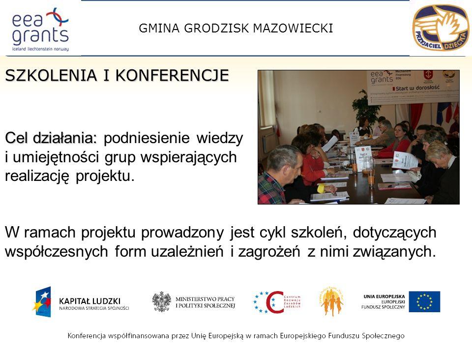 GMINA GRODZISK MAZOWIECKI SZKOLENIA I KONFERENCJE Cel działania: Cel działania: podniesienie wiedzy i umiejętności grup wspierających realizację projektu.