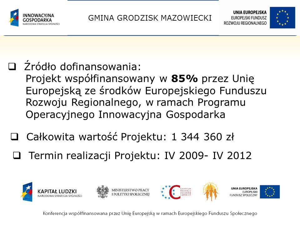 GMINA GRODZISK MAZOWIECKI Źródło dofinansowania: Projekt współfinansowany w 85% przez Unię Europejską ze środków Europejskiego Funduszu Rozwoju Regionalnego, w ramach Programu Operacyjnego Innowacyjna Gospodarka Całkowita wartość Projektu: 1 344 360 zł Termin realizacji Projektu: IV 2009- IV 2012