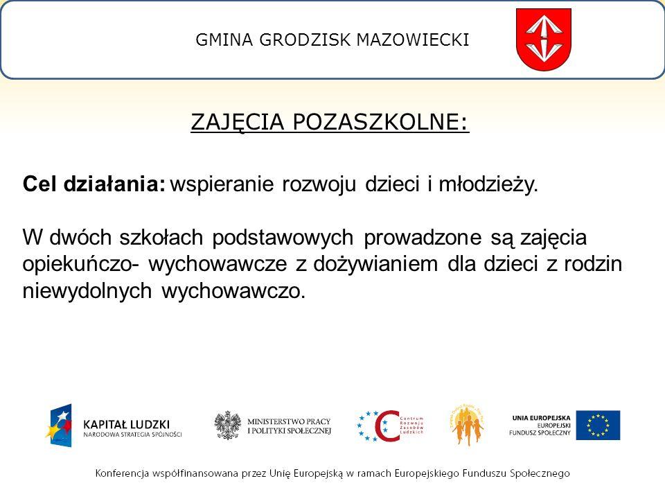 GMINA GRODZISK MAZOWIECKI ZAJĘCIA POZASZKOLNE: Cel działania: wspieranie rozwoju dzieci i młodzieży.