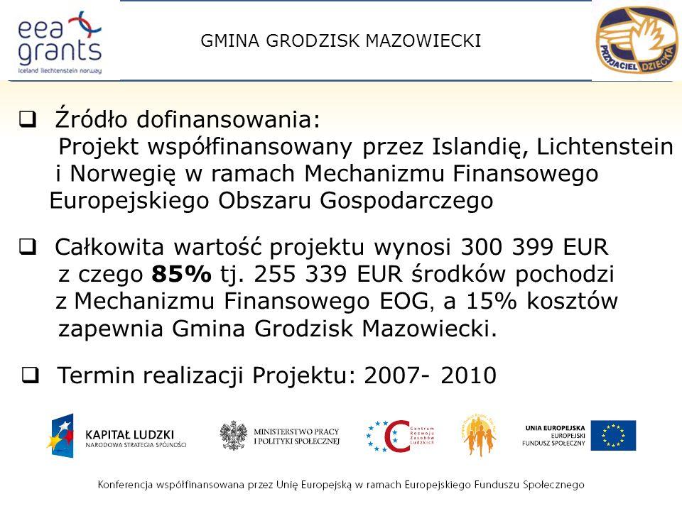 GMINA GRODZISK MAZOWIECKI Źródło dofinansowania: Projekt współfinansowany przez Islandię, Lichtenstein i Norwegię w ramach Mechanizmu Finansowego Europejskiego Obszaru Gospodarczego Termin realizacji Projektu: 2007- 2010 Całkowita wartość projektu wynosi 300 399 EUR z czego 85% tj.