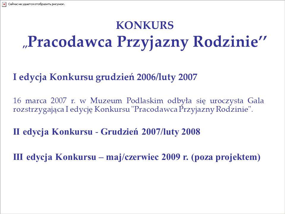 KONKURS,, Pracodawca Przyjazny Rodzinie I edycja Konkursu grudzień 2006/luty 2007 16 marca 2007 r.