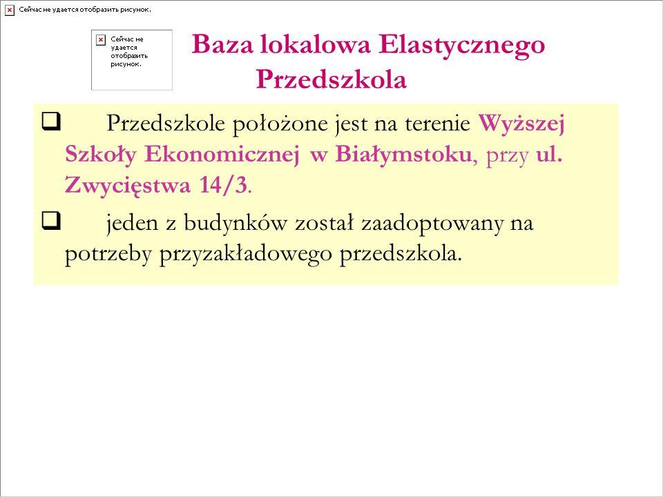 Baza lokalowa Elastycznego Przedszkola Przedszkole położone jest na terenie Wyższej Szkoły Ekonomicznej w Białymstoku, przy ul.