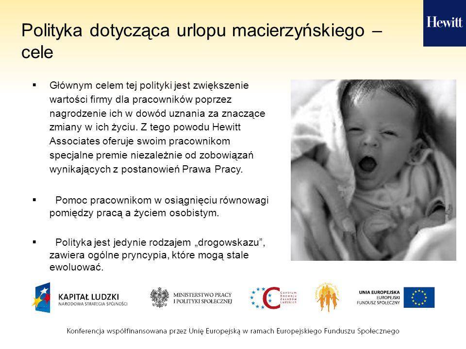 Polityka dotycząca urlopu macierzyńskiego – cele Głównym celem tej polityki jest zwiększenie wartości firmy dla pracowników poprzez nagrodzenie ich w dowód uznania za znaczące zmiany w ich życiu.