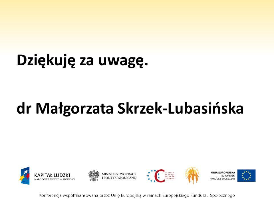 Dziękuję za uwagę. dr Małgorzata Skrzek-Lubasińska
