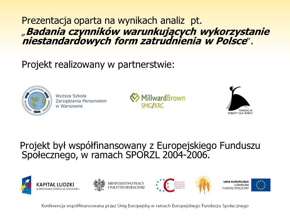 Prezentacja oparta na wynikach analiz pt. Badania czynników warunkujących wykorzystanie niestandardowych form zatrudnienia w Polsce. Projekt realizowa